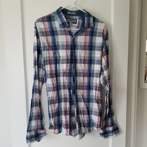 Express Fitted Plaid Long Sleeve Snap Up Shirt